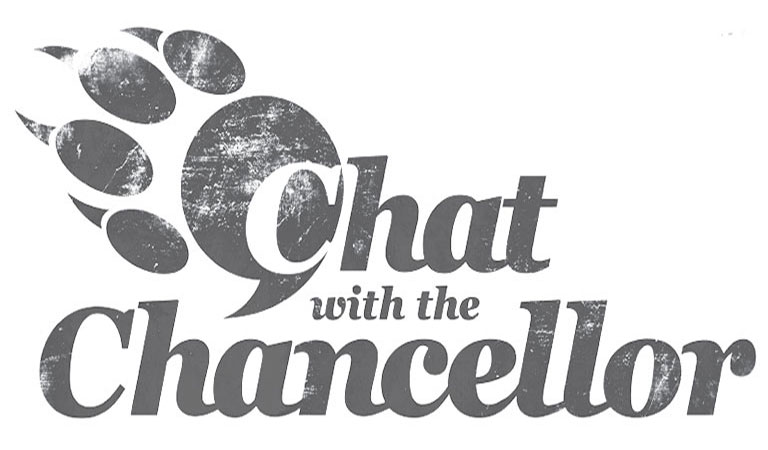 Chat with the Chancellor jaguar paw logo