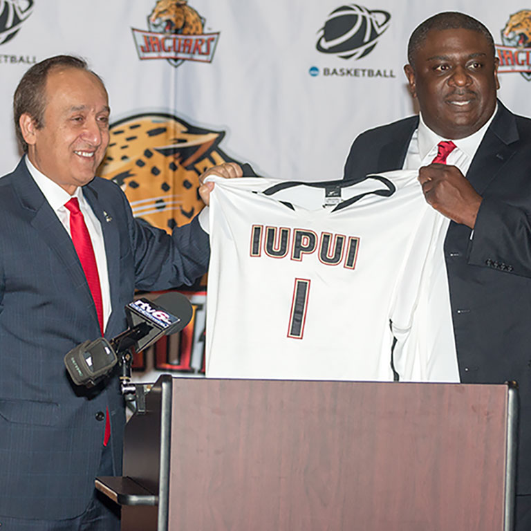 Chancellor Paydar and new IUPUI Athletic Director Dr. Roderick Perry at Basketball Tipoff Luncheon