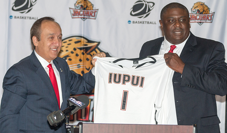 IUPUI Chancellor Nasser H. Paydar and Athletic Director Dr. Roderick Perry at Basketball Tipoff Luncheon