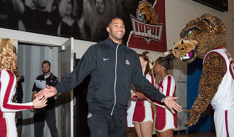 Senior IUPUI Men's Basketball player Marcellus Barksdale at Basketball Tipoff Luncheon