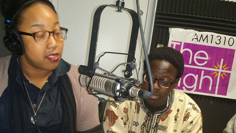 Students RaeVen Ridgell and Herbert Mutumba discuss MLK Celebration Dinner on AM1310's Unity in the Community radio show