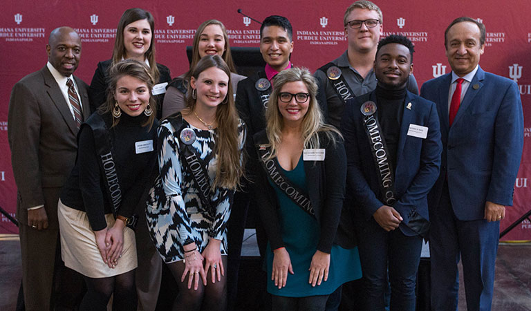 Chancellor Paydar and the homecoming court at the 2016 IUPUI Homecoming Court Reception