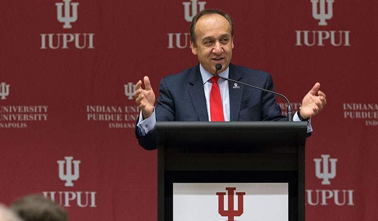 Chancellor Paydar speaks at the IUPUI Taylor Symposium honoring the late Dr. Joseph P. Taylor