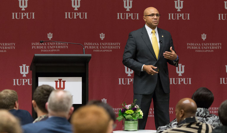 Major Neil Franklin addresses the audience at the IUPUI Taylor Symposium honoring the late Dr. Joseph P. Taylor
