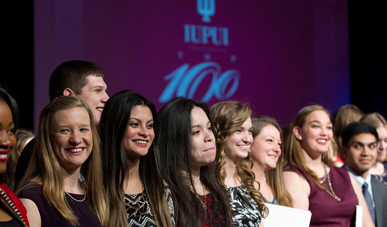 Outstanding students at IUPUI's 2016 Top 100 Student Recognition Dinner