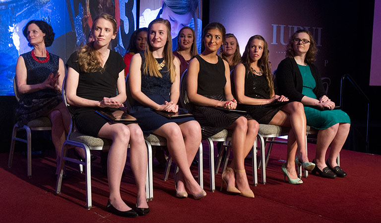 The top 10 women students at IUPUI's 2016 Top 100 Student Recognition Dinner