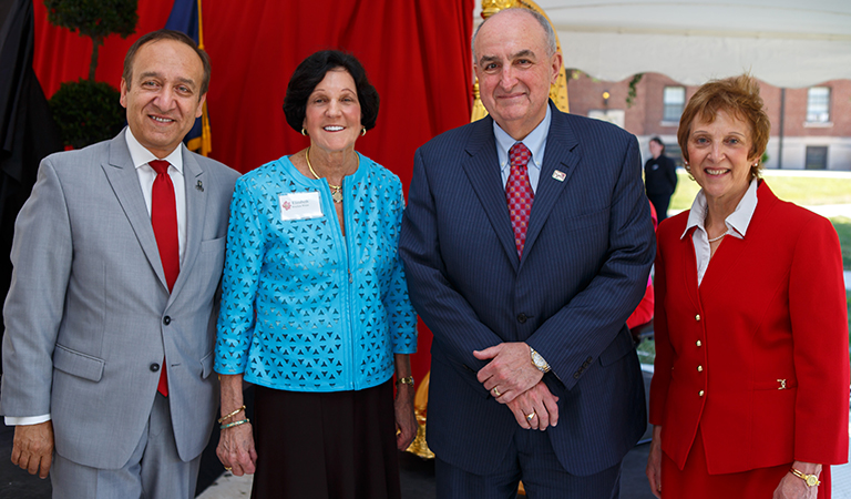 President McRobbie, Chancellor Paydar, and Dean Newhouse with Elizabeth Bracken Wiese.