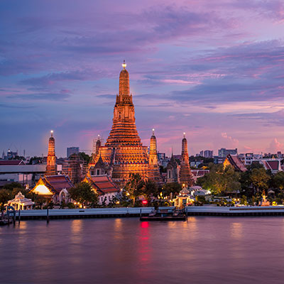 A view of the Wat Arun Buddhist temple in Bangkok from across the Chao Phraya River.
