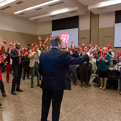 Chancellor Nasser H. Paydar kicks off the Campus Campaign at the Campus Center.