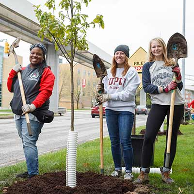Students pose with shovels and the tree they just planted.