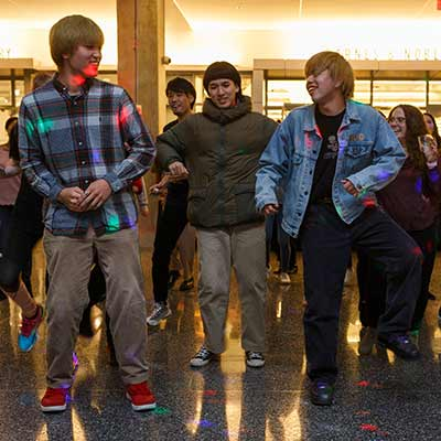 Students dance in the Campus Center during Celebrate IUPUI Day festivities.