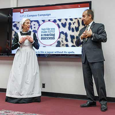 IUPUI Chancellor Nasser H. Paydar and IU School of Nursing Dean Robin Newhouse dressed up as Florence Nightingale dance during the 2020 IUPUI Campus Campaign Kickoff festivities.