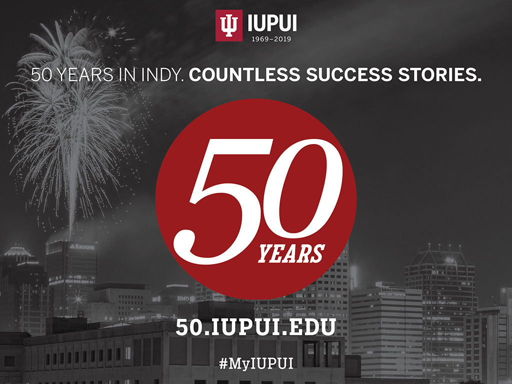 Fireworks above the Indianapolis skyline with the words '50 years in Indy. Countless success stories.'