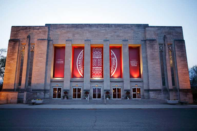 The facade of the IU Auditorium at Indiana University Bloomington.