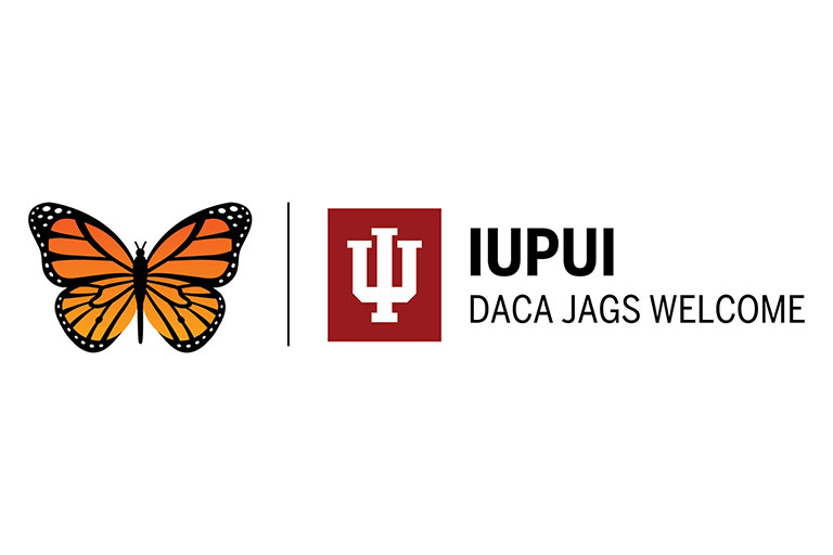 A butterfly with the IU trident and the words IUPUI DACA Jags Welcome.